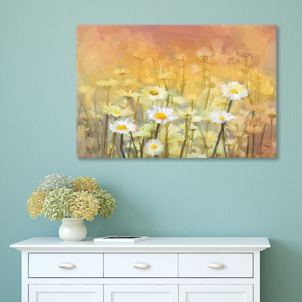 Watercolor Style Small White Flowers - Canvas Art | Wall26