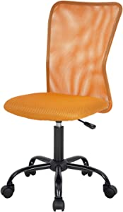 Home Office Chair Mid Back Mesh Desk Chair Armless Computer Chair Ergonomic Task Rolling Swivel Chair Back Support Adjustable Modern Chair with Lumbar Support,Orange