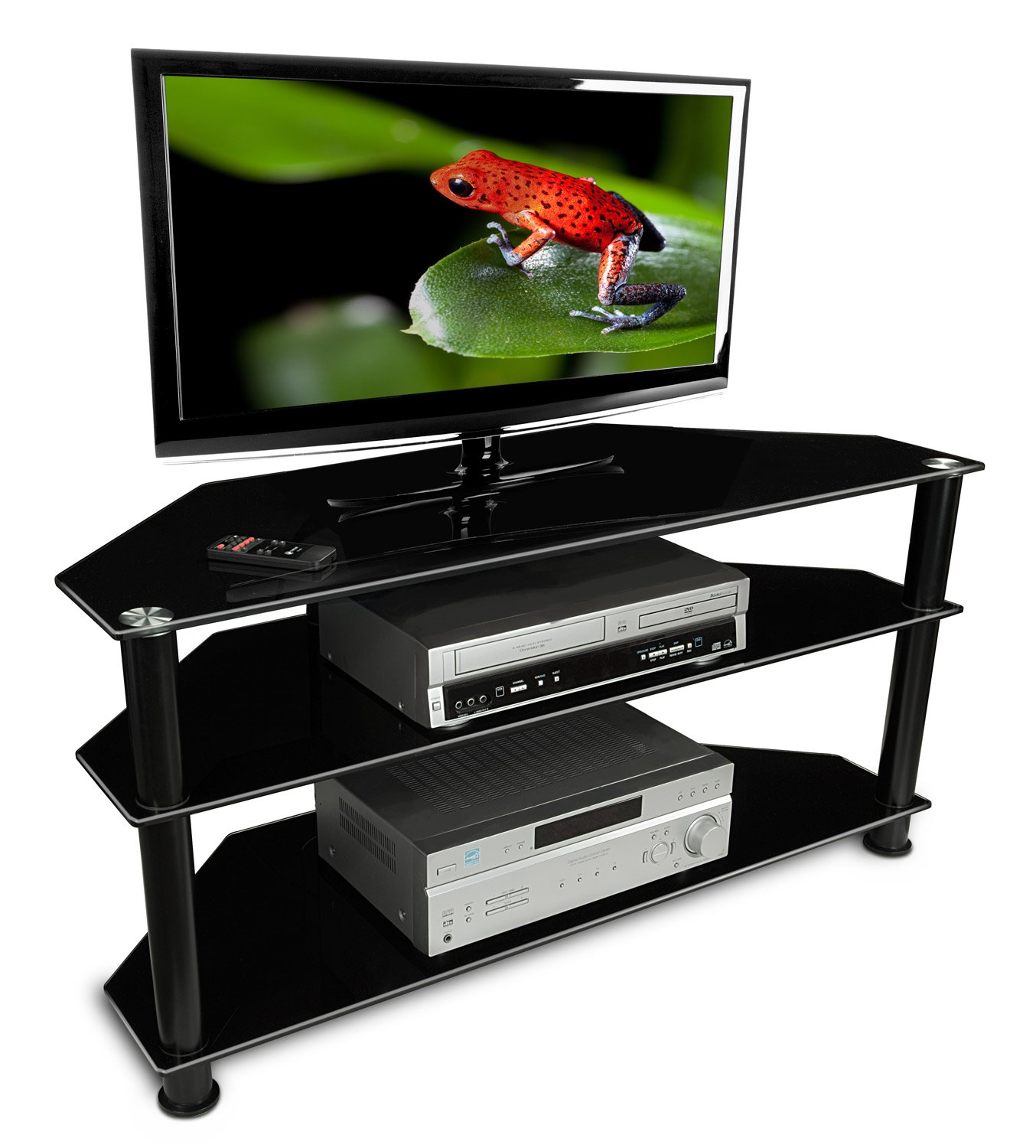 Amazon.com: Mount It! MI 850 TV Stand Glass Shelving With Storage, Black:  Kitchen U0026 Dining