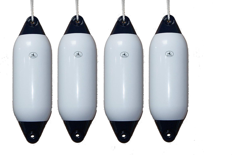 INFLATED HURRICANE 4 x Boat Fenders FREE ROPE Black 26 x 8