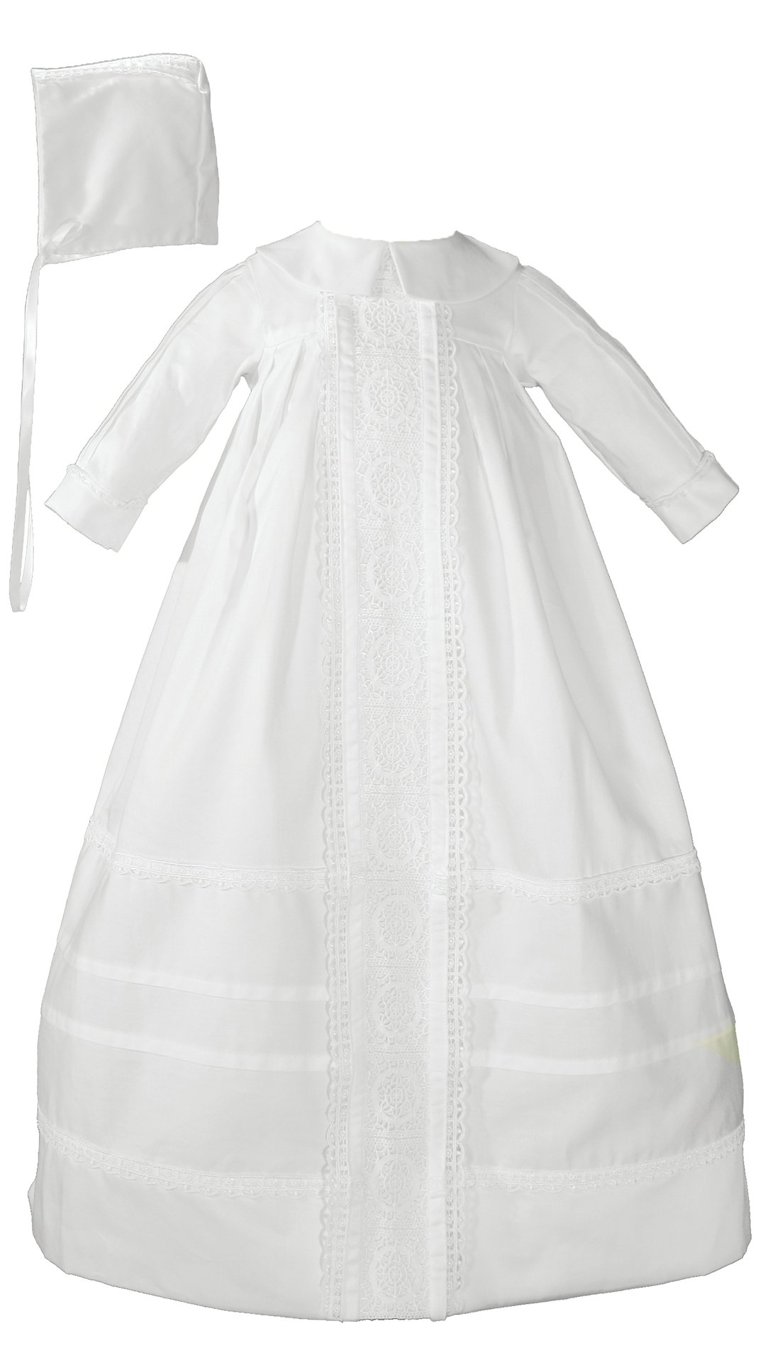 Cotton Sateen Bishop's Christening Baptism Gown and Bonnet , 06 Month