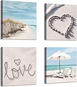 """Canvas Wall Art Beach Picture: Artwork of Chairs & Sand Dune Painting Print Coastal Wall Artwork for Kitchen (12""""x12""""x4pcs)"""