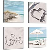 Beach Picture Canvas Wall Art: Seaside Chairs & Umbrella Artwork Painting Print for Bathroom (16'' x 16'' x 4 Panels)