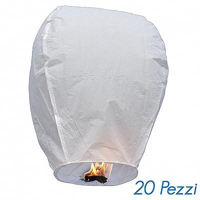 1332 Pack de 20 lanternes célestes écologiques (Blanc)