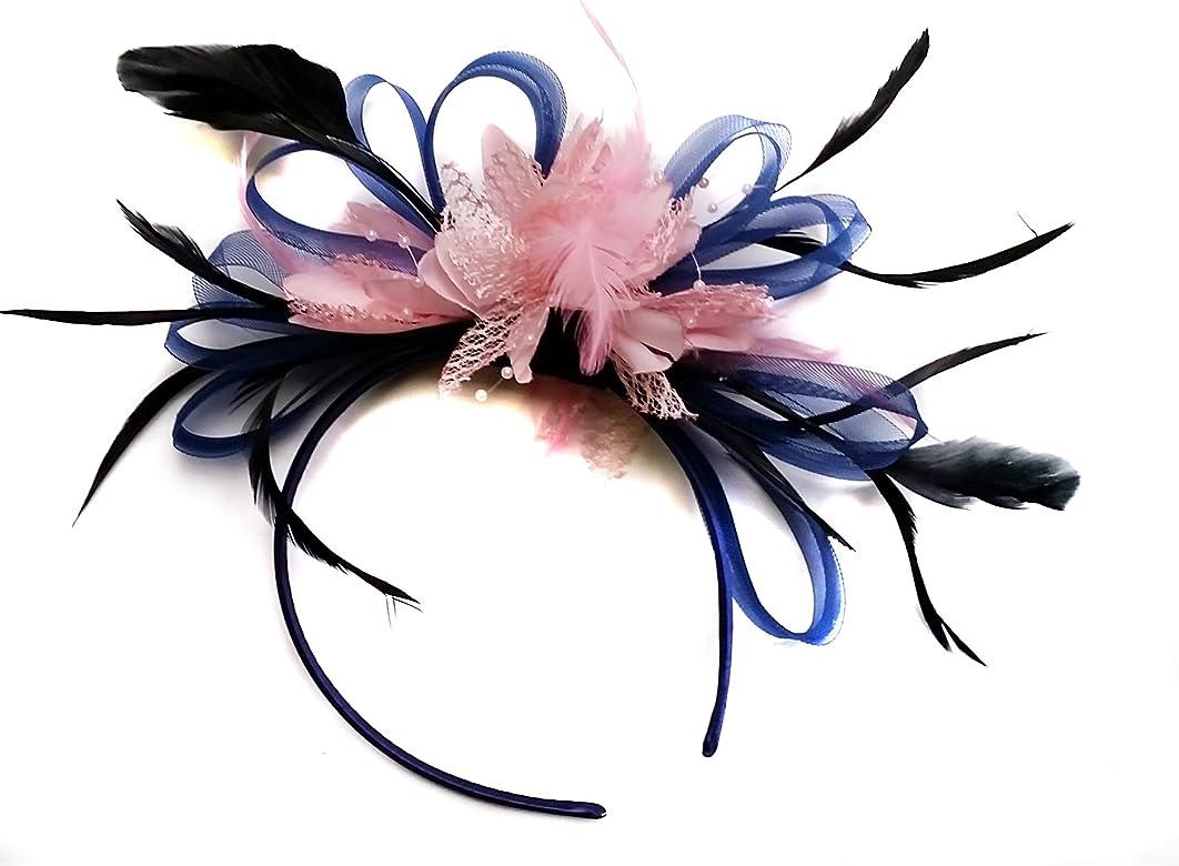 vif et grand en style styles classiques grande vente de liquidation Bleu marine et rose serre-tête bibi avec plume pour mariage ...