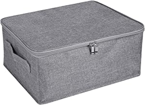 ANMINY Storage Bins with Zipper Lid Storage Boxes with Handles PP Plastic Board Foldable Lidded Cotton Linen Fabric Home Cubes Baskets Closet Clothes Toys Organizer Containers - Gray, Small Size