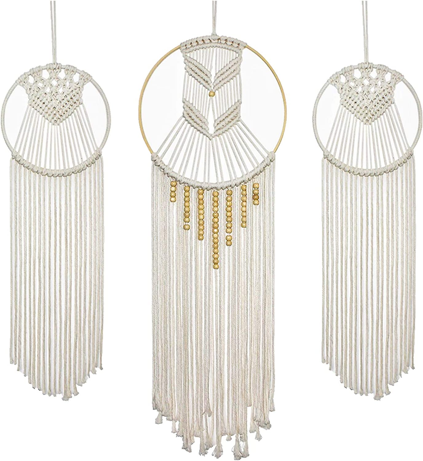 Rozwkeo 3 pcs Macrame Wall Hanging Boho Dream Catcher Wall Decor Large Handmade Tassels Bohemian Woven Tapestry Wall Art Decor for Bedroom Apartment Living Room Home Decoration Ornament Craft Gift
