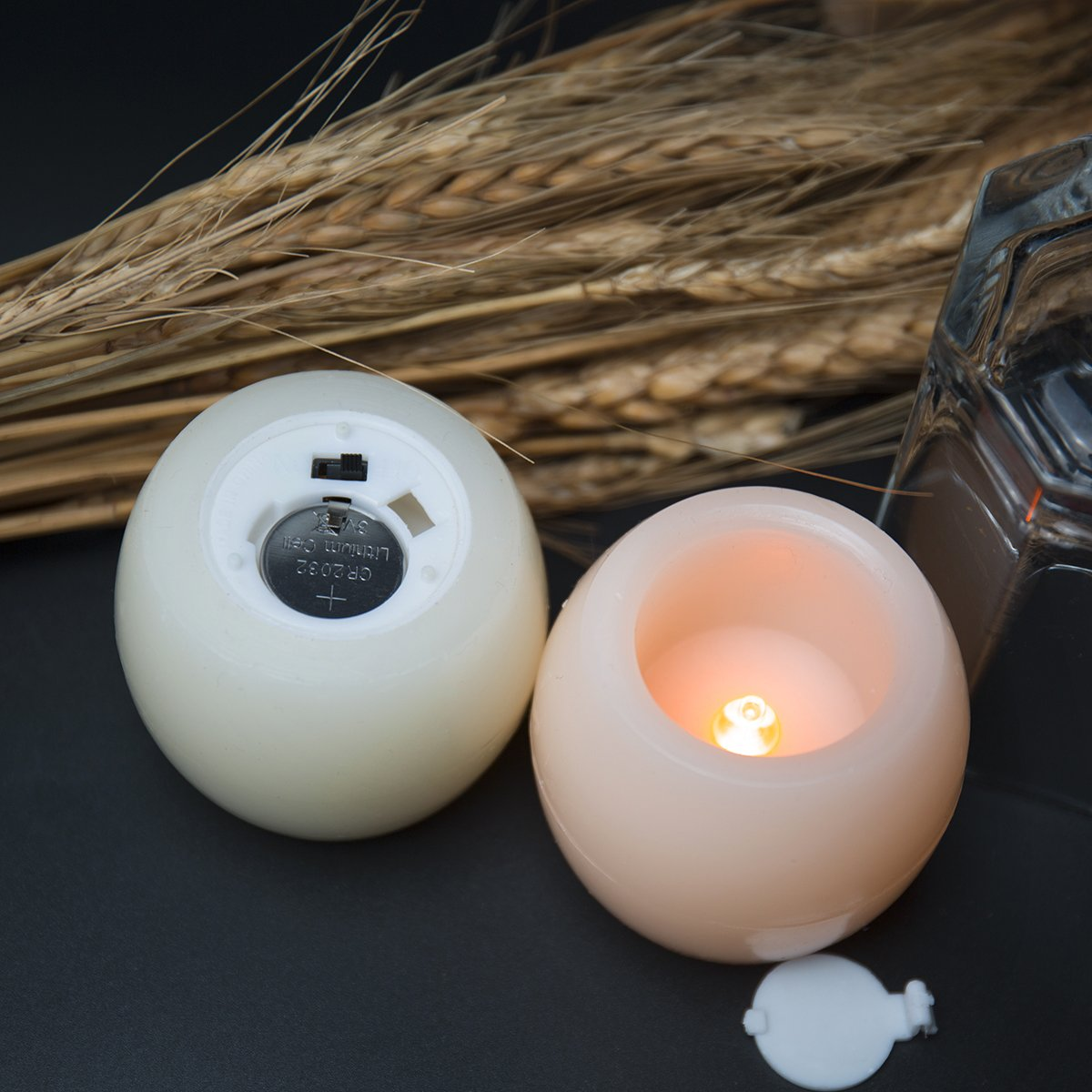ANLight Set of 2 Ivory Led Wax Flameless Candle Battery Operated Tea Light -For Votive Holder Home Party and Christmas Halloween Decoration
