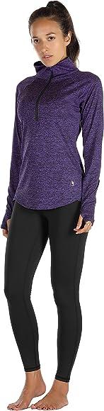 icyzone Damen Sport T-Shirt Langarm Laufshirt 1//2 Rei/ßverschluss Fitness Sweatshirt Laufjacke Running Tops