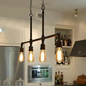 "LOG BARN 4 Lights Industrial Island Pendant Linear Lightening Chandelier in Black Metal Finish, 44"" Dining Room Light Fixture, A03357"