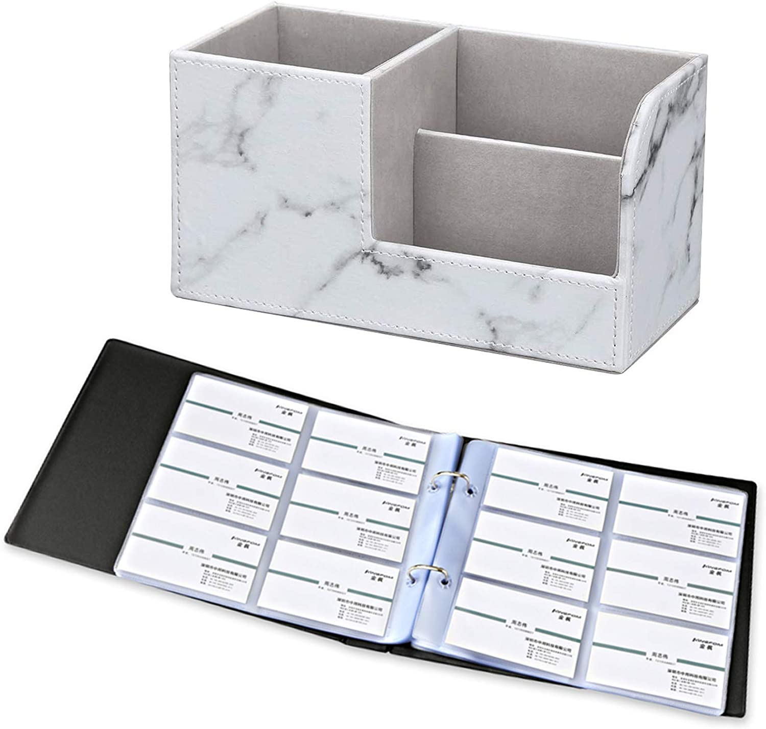 KINGFOM Pu Leather Multi-function Desk Organizer Offices Supplies Stationery Storage Box Pen/Pencil,Cell phone, Business Name Cards Remote Control Holder + Business Name Card Organizer Holds 360 Cards