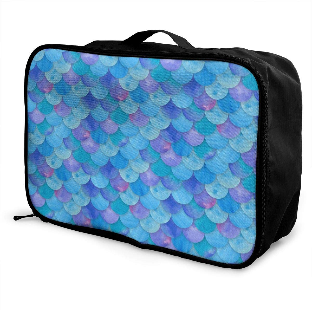 Sea Blue Mermaid Fish Scale Travel Duffel Bag Casual Large Capacity Portable Luggage Bag Suitcase Storage Bag Luggage Packing Tote Bag Weekend Trip