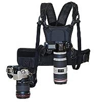 "Micnova MQ-MSP01 Pro Harnais de Transport Photographe Sangle de Poitrine Corps élastique réglable avec caméra 1/4""Vis pour 2 Appareils Photos Noir Canon Nikon Sony Sigma DSLR Caméra"