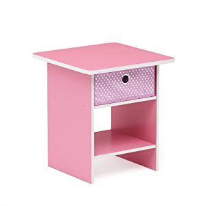 FURINNO Dario End Table/Night Stand Storage Shelf, 1-Pack, Pink/Light Pink