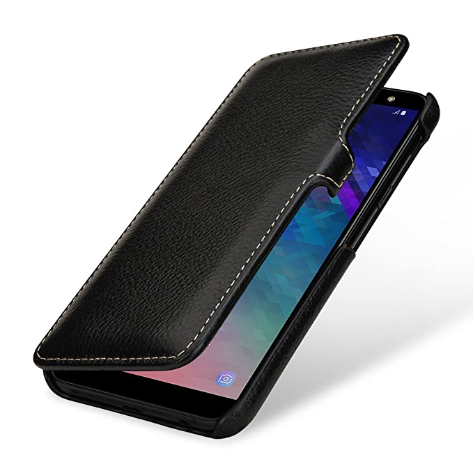 finest selection 8e578 325b6 StilGut Samsung Galaxy A6 2018 Case. Leather Book Type Flip Cover for A6  2018, Folio Case with Closure, Black
