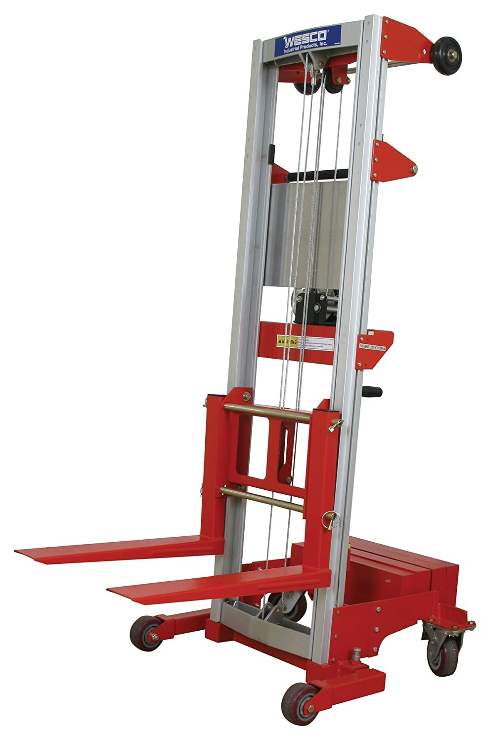 400-lb 24 x 35 x 68 Wesco Industrial Products 273510 Aluminum//Steel Hand Winch Lifter with Fixed Base Capacity