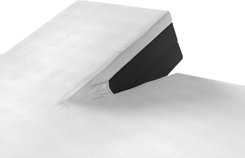 SLEEPMED Sábana Bajera Ajustable para Cama Doble Articulada, Juego de 2, Sábanas en Algodón elástico de Jersey tamaños (Blanco, 140 x 200 cm)