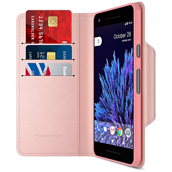 info for 1c456 0987c Google Pixel 2 Wallet Case, Maxboost [Folio Style] Premium Google Pixel 2  Card Cases STAND Feature [Rose Gold] Protective PU Leather Flip Cover with  ...