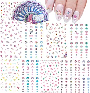 Nail Art Stickers for Kids Nail Decals Accessories Unicorn Water Transfers Butterfly Star Heart Nail Polish Wraps for Little Girls Fingernail Decor 500+ Patterns DIY Cute Fashion Multiple Large Sheets