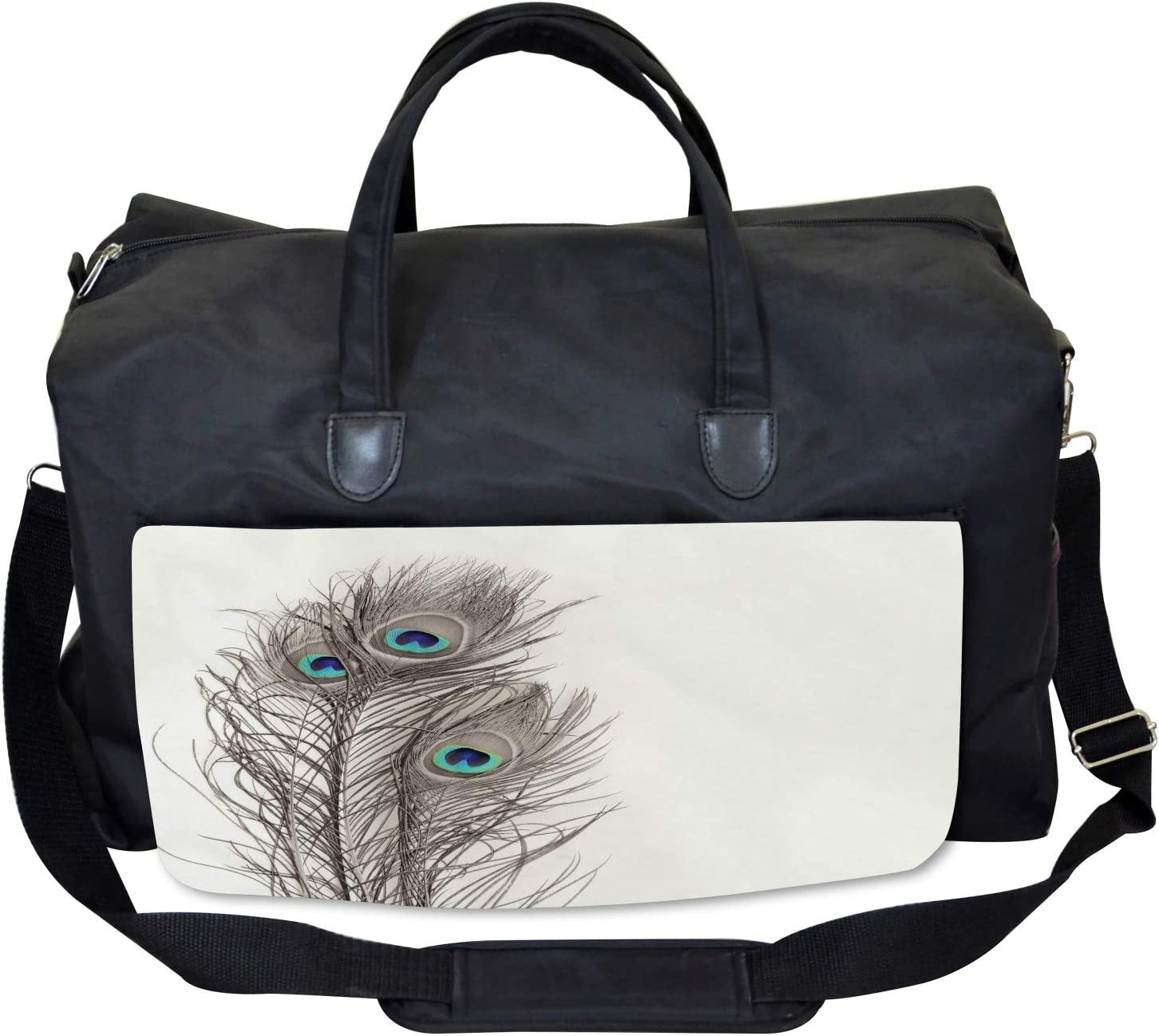 Ambesonne Peacock Gym Bag Large Weekender Carry-on Feathers of Exotic Bird