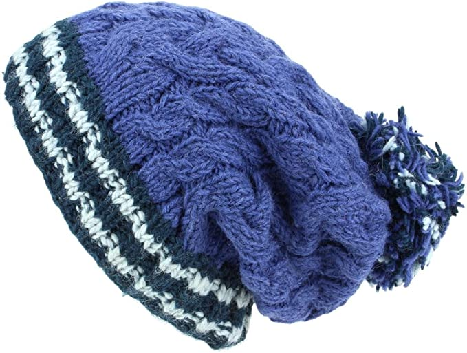 SLOUCH BEANIE BOBBLE HAT CHUNKY WOOL KNIT FLEECE LINED BAGGY MENS LADIES