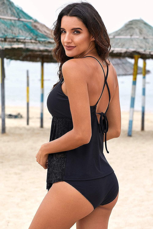 minqi Womens Flowy Layered Mesh Lace Overlay Tankini Swimsuits with Irregular Hemline Swim Top.