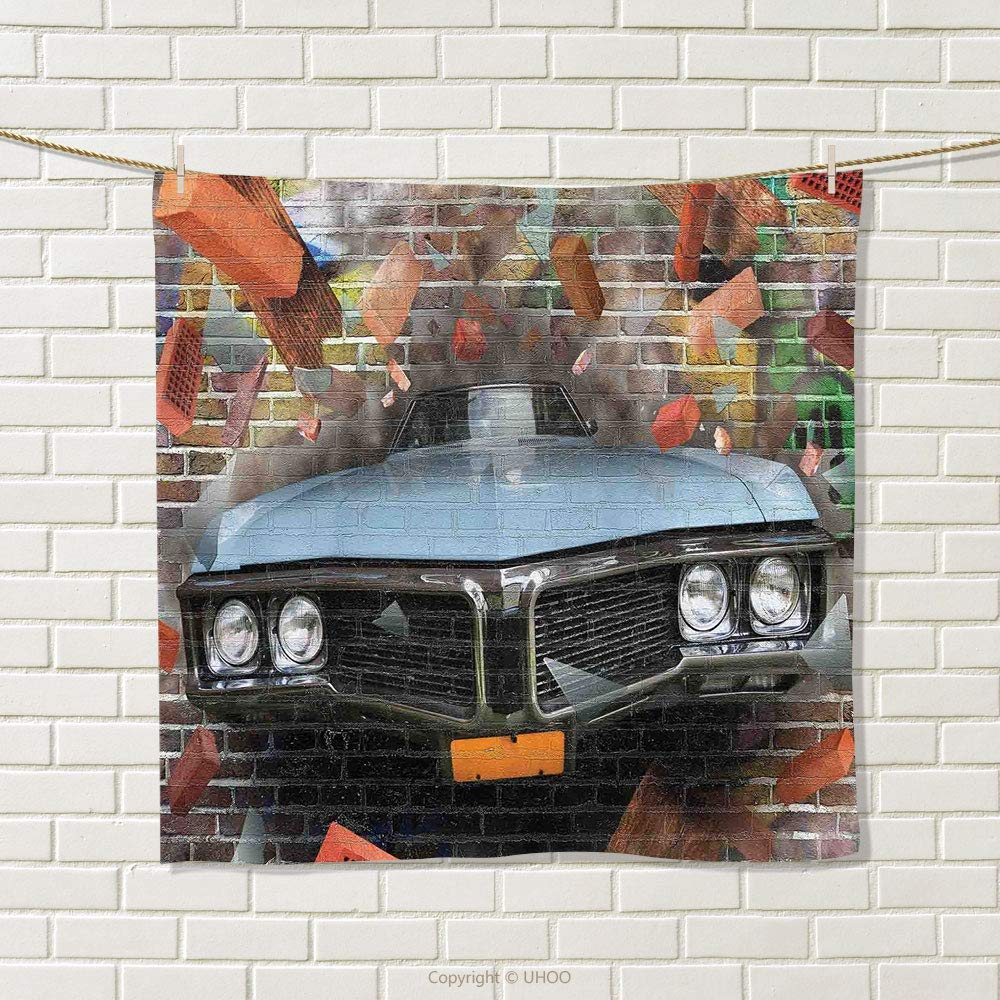 smallbeefly Cars Hand Towel Graffiti Featured Graphic of Crashing Automobile on A Brick Wall Underground Street Style Quick-Dry Towels Multi Size: W 20'' x L 31''