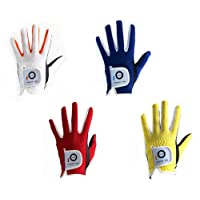 Youth Kids Toddler Golf Gloves Boys Girl 2 Pack, Left Right Hand Junior Fit Age 2-10 Years, Color Blue White Red Yellow, By Finger Ten