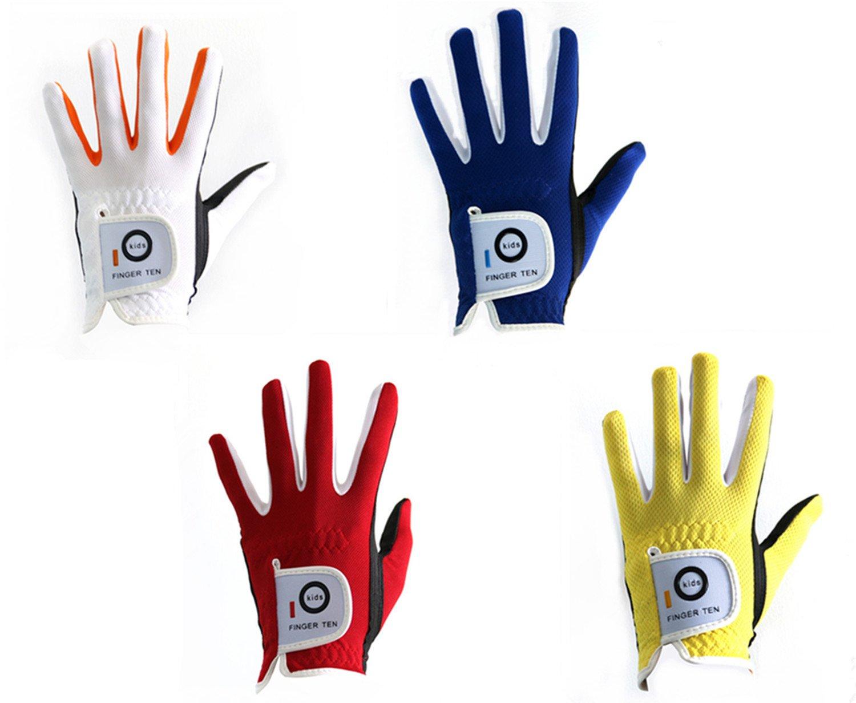 Finger Ten 2017 Junior kids Youth Toddler Boys Girls Dura Feel White Blue Red Yellow Left Hand Right Hand Golf Gloves Extra Value 2 Pack (Medium Red, left)