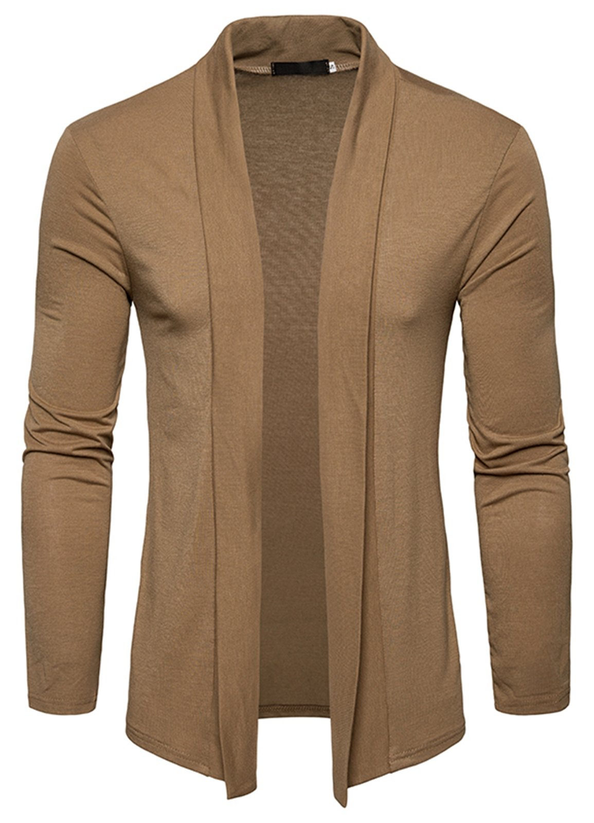 WHATLEES Mens Casual Long Sleeve Open Front Slim Fit Shawl Collar Cardigans Sweater B941-Khaki-M