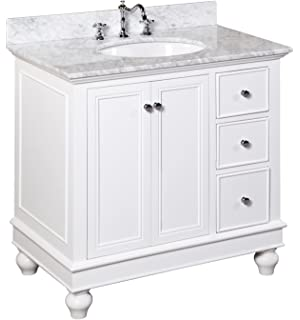 Kitchen Bath Collection KBC2236WTCARR Bella Bathroom Vanity With Marble  Countertop, Cabinet With Soft Close Function
