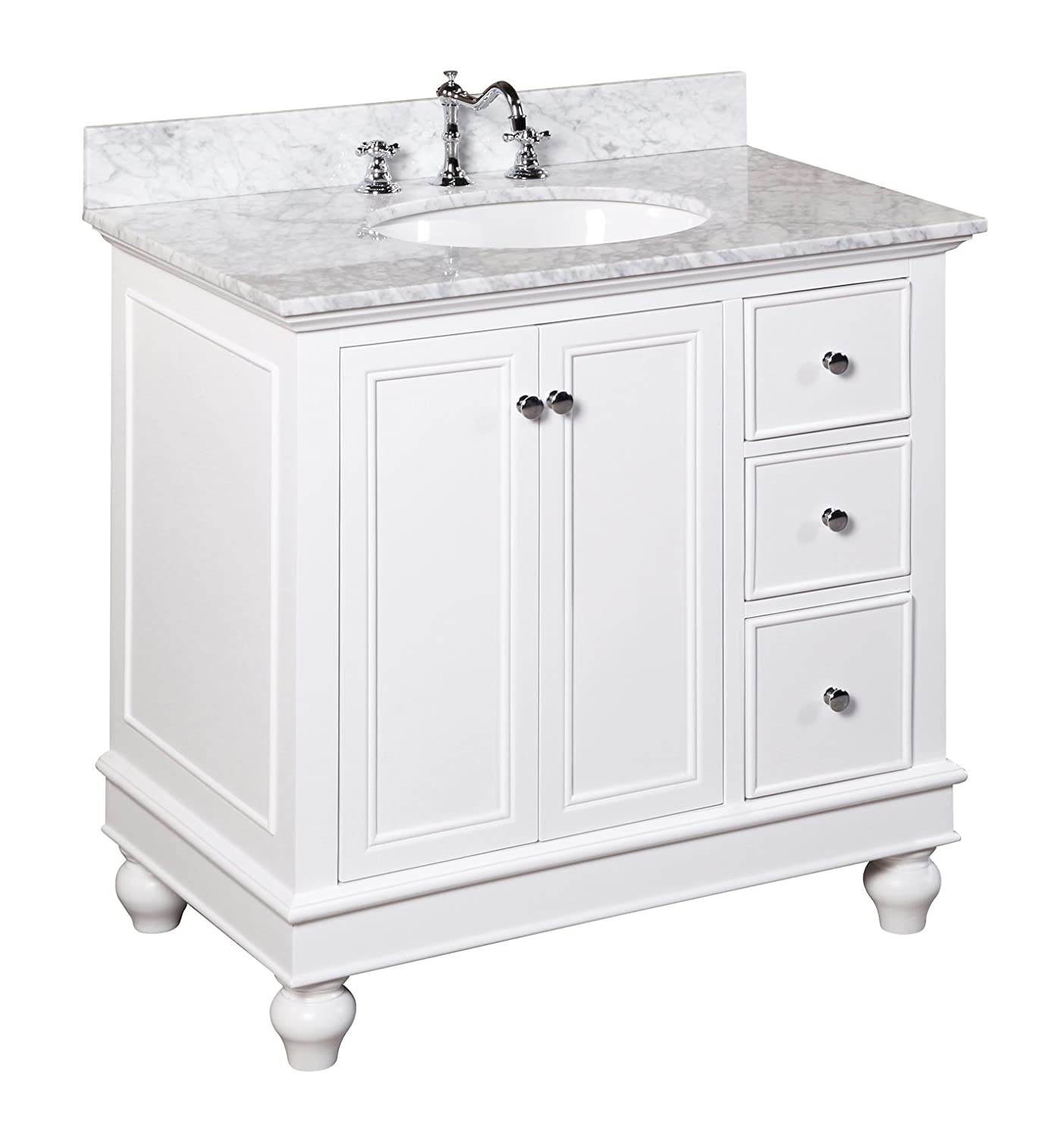 Kitchen Bath Collection KBC2236WTCARR Bella Bathroom Vanity With Marble  Countertop, Cabinet With Soft Close Function And Undermount Ceramic Sink,  ...
