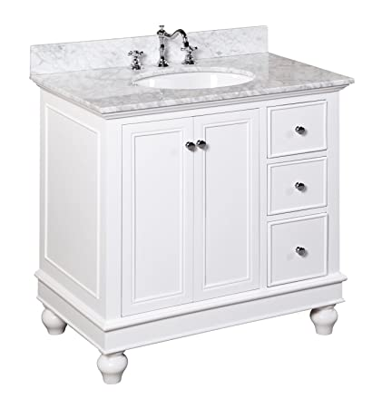 Kitchen Bath Collection Kbc2236wtcarr Bella Bathroom Vanity With Marble Countertop Cabinet With Soft Close Function And Undermount Ceramic Sink