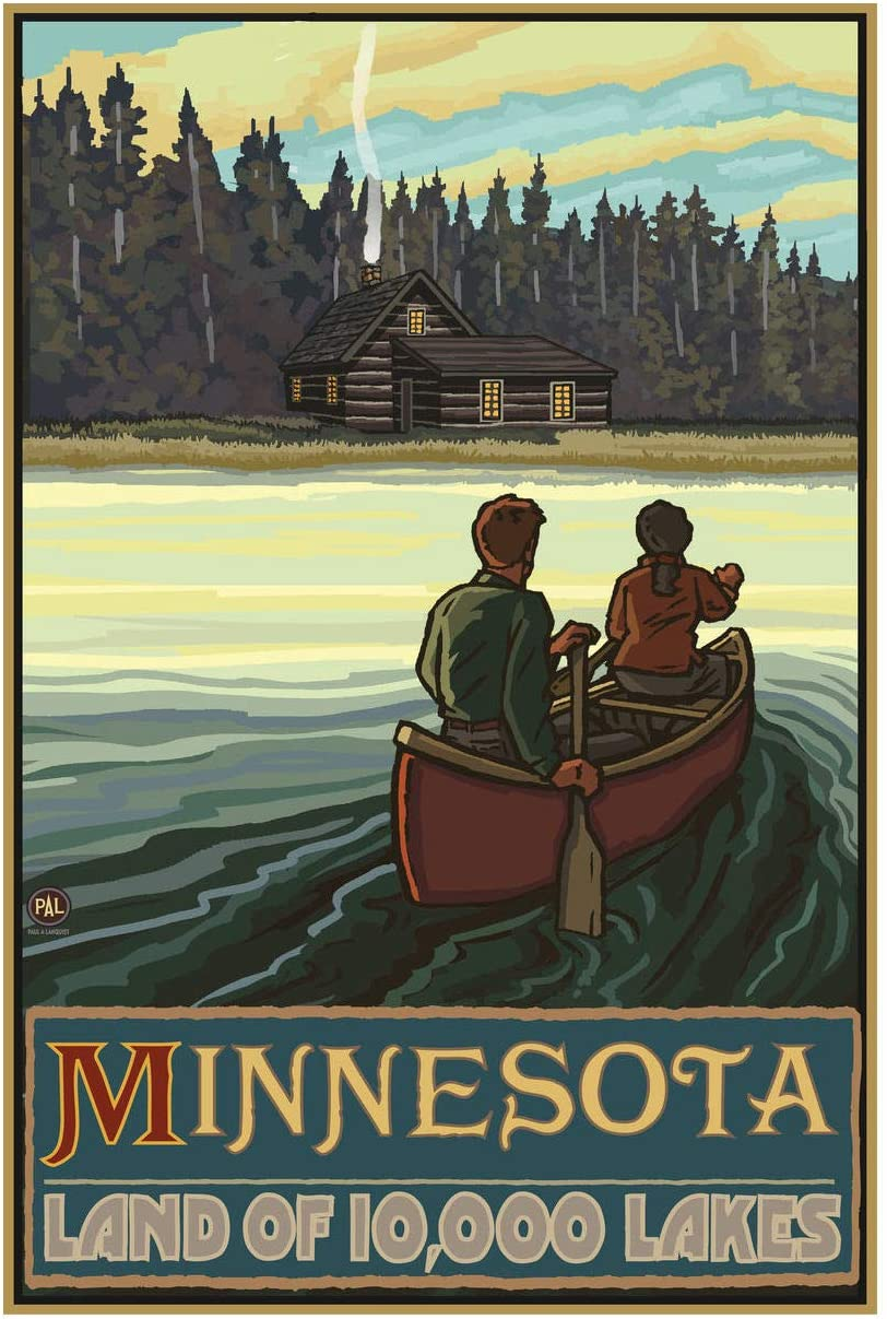 "Minnesota Lake Canoers Forest Cabin Giclee Art Print Poster from Original Travel Artwork by Artist Paul A. Lanquist 12"" x 18"""