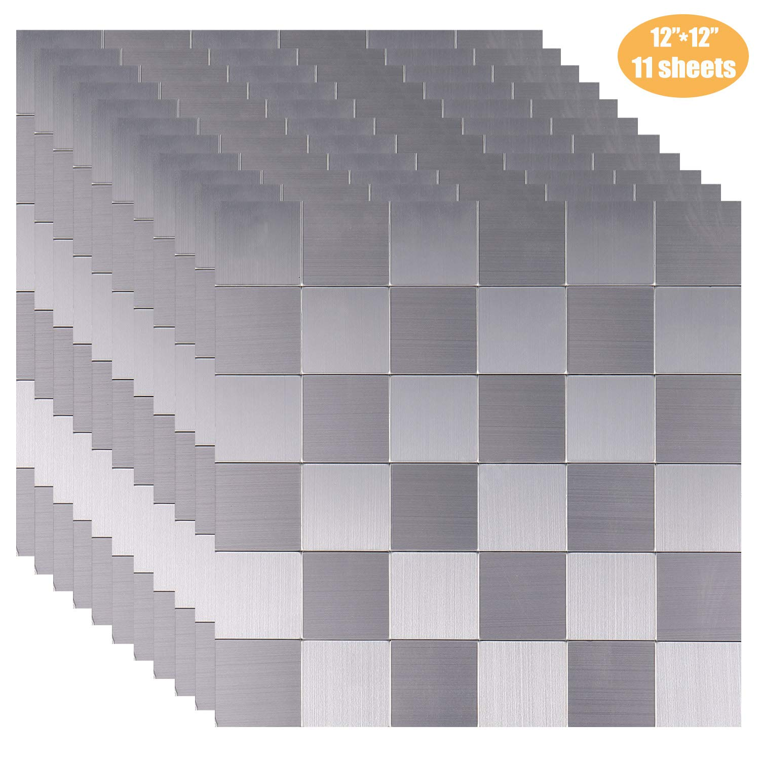 AxPower Peel and Stick Tile Backsplash Stainless Steel Metal Adhesive Kitchen Wall Tile 12'' x 12'' 11 Sheets /9 Square Feet/1 Square Meter