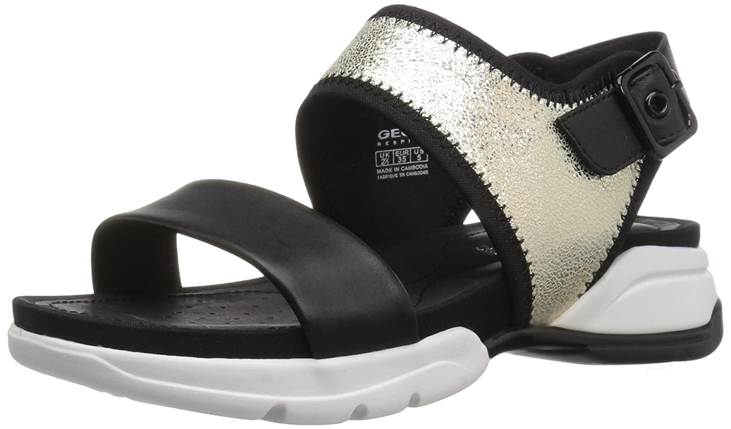 Geox Women's W Sfinge 2 Dress Sandal B01MUAOIFK 41 M EU / 10.5 B(M) US|Light Gold/Black
