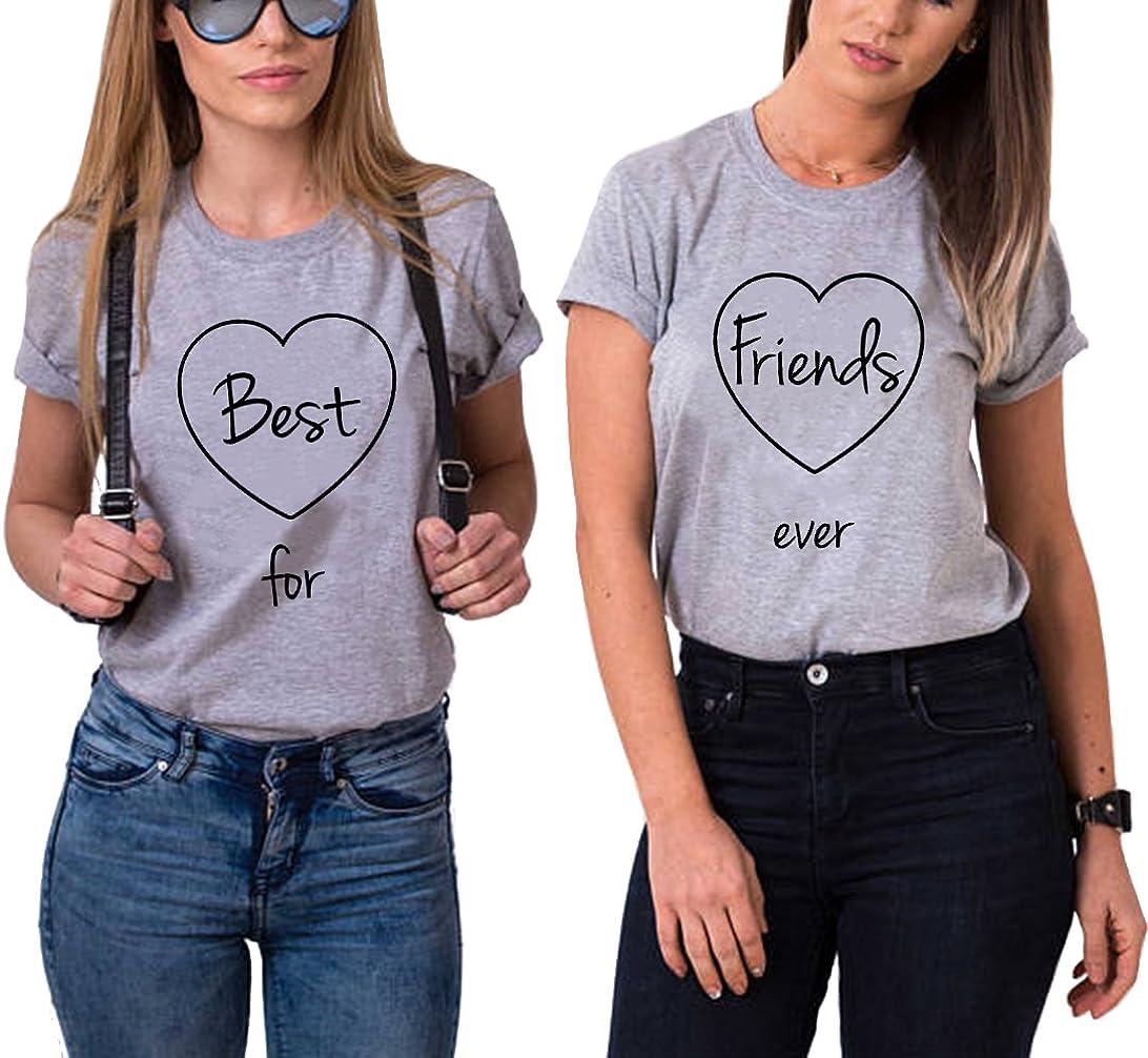 Best Friends T-Shirts f/ür Zwei Damen 2 St/ücke Beste Freundin mit BFF Freunde Shirt Freundschaft Baumwolle Sommer Tops