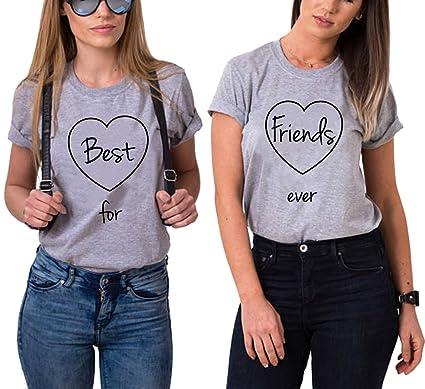 cec8d3acb3e6 Best Friend Shirt pour 2 Femmes BFF T-Shirt Imprimé Cœur Deux Pièces Tops à