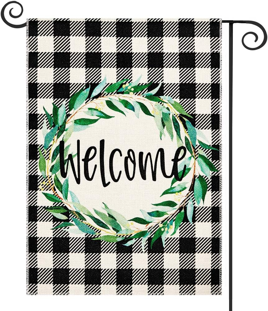 DOLOPL Fall Welcome Garden Flag 12.5x18 Inch Double Sided Decorative Buffalo Check Green Olive Wreath Small Yard Garden Flags for Outside Summer Outdoor Decorations
