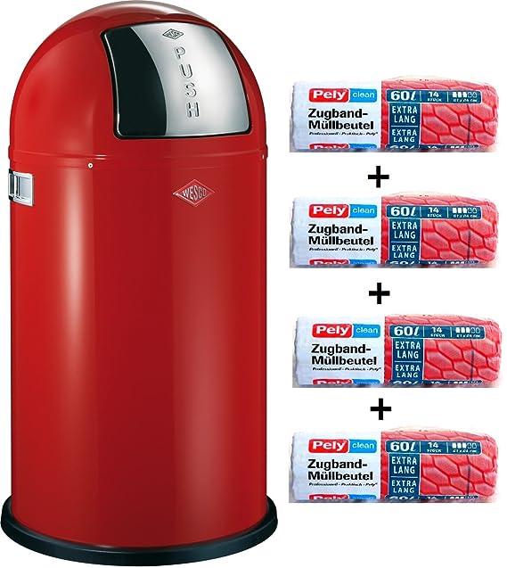 Wesco Pushboy 50 litros de basura rojo + 56 pcs disponibles ...