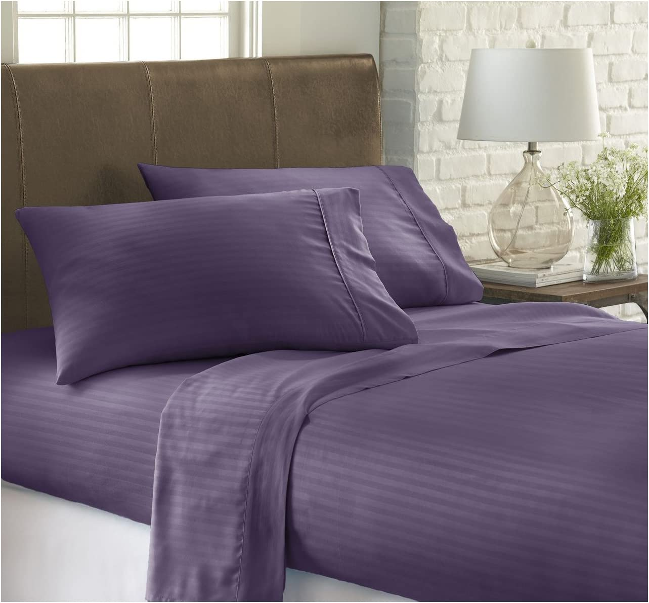 ienjoy Home Dobby 4 Piece Home Collection Premium Embossed Stripe Design Bed Sheet Set, California King, Purple