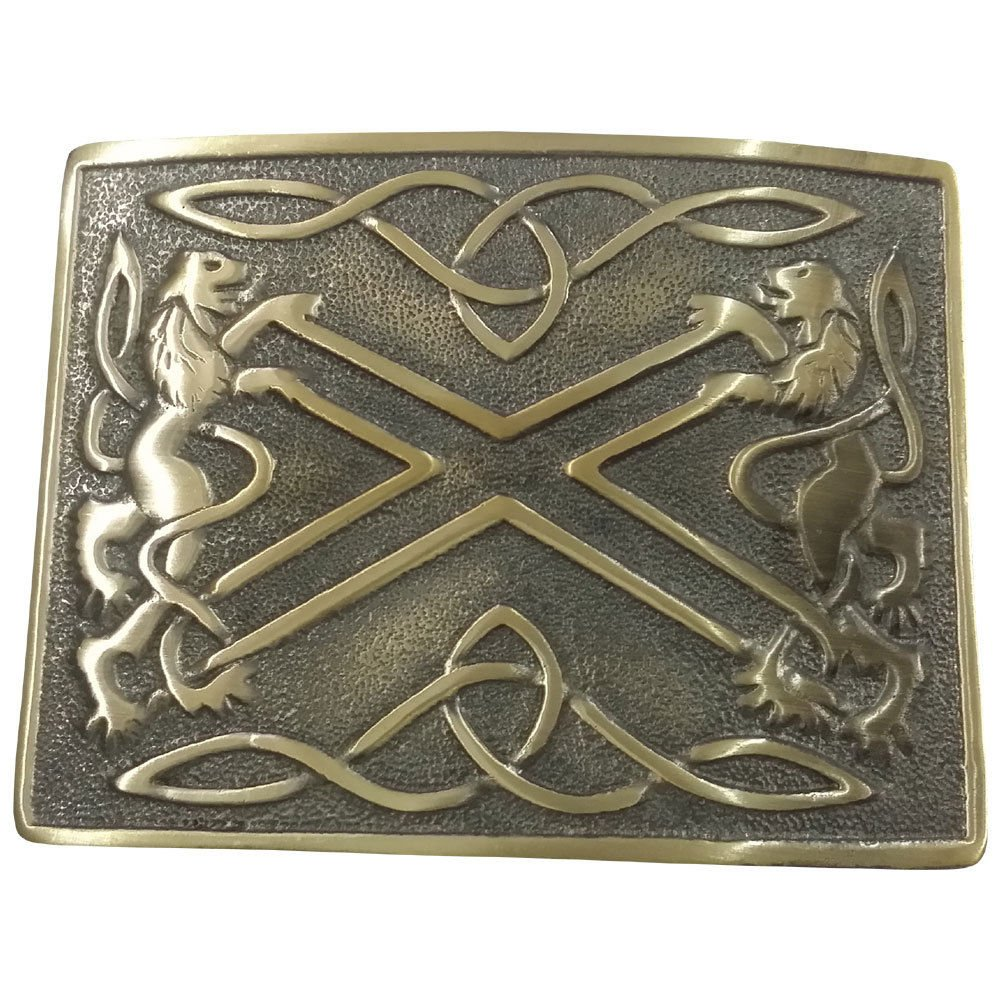 AAR Kilt Belt Buckle Antique Finish Scottish Saltire & Lion Band