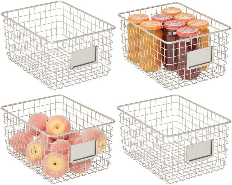 mDesign Farmhouse Decor Metal Wire Food Organizer Storage Bin Basket for Kitchen Cabinets, Pantry, Bathroom, Laundry Room, Closets, Garage, 4 Pack - Satin