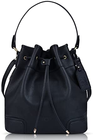 c84edfa88bee Image Unavailable. Image not available for. Color  Coofit Drawstring  Handbag Bucket Bag Leather Crossbody ...