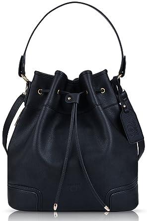 1261766179ca Image Unavailable. Image not available for. Color  Coofit Drawstring  Handbag Bucket Bag Leather Crossbody Bag Original Design Shoulder Bag  Handbag for women