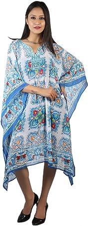 Bayside Barcelona españa Estampado Paisley Lentejuelas Azul Blanco Adornado Vestido de Maternidad Kaftan Swimwear de Playa para Mujer