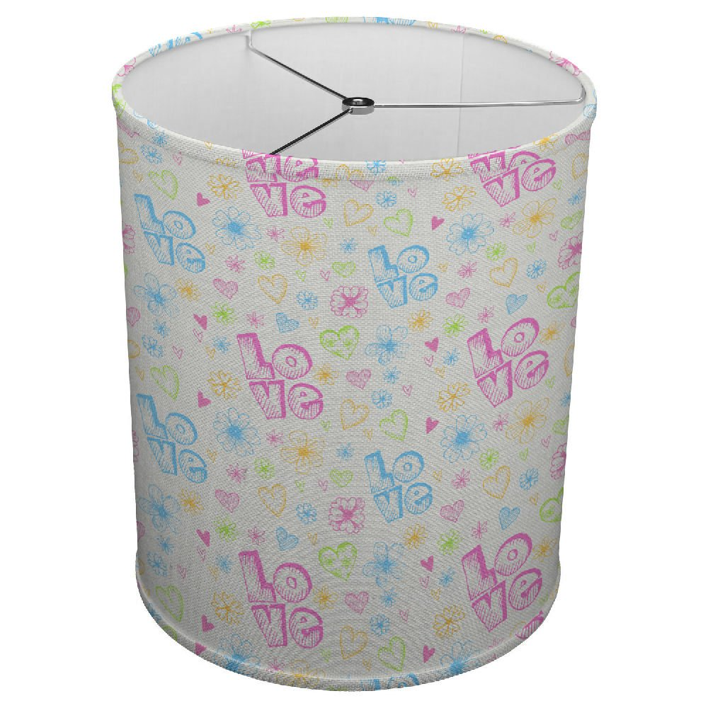 Hardback Linen Drum Cylinder Lamp Shade 8'' x 8'' x 8'' Spider Construction [ Pattern Sketches Flowers With Hearts Love Word ]