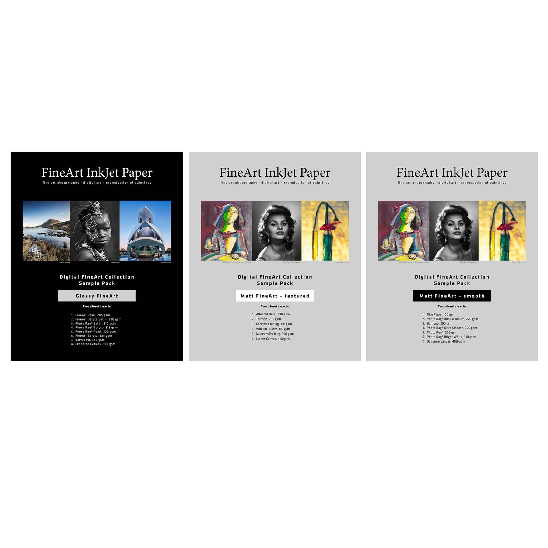 Hahnemuhle FineArt Glossy Inkjet , Matte Smooth, Matte Textured Sample Packs (8.5'' x 11'', 40 Sheets total)