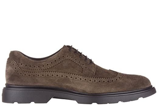 Men's Classic Suede Lace up Laced Formal Shoes Derby Route bucature Brown