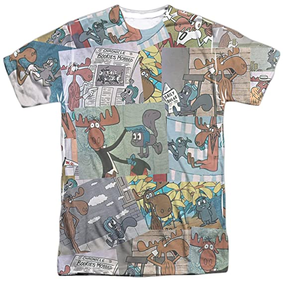 Rocky /& Bullwinkle VINTAGE POSTER Flying Squirrel Heather T-Shirt All Sizes